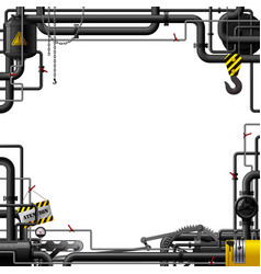 Industrial frame with black pipes and machine vector