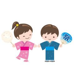 Kids wearing japanese summer kimono vector
