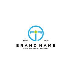 Letter t cross plus hospital medical logo design vector