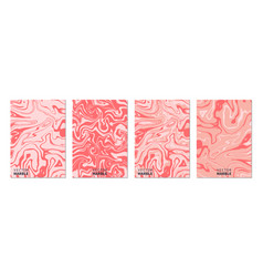 liquid marble texture in coral vertical banners vector image