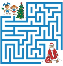 Maze of Santa Claus and Christmas tree vector
