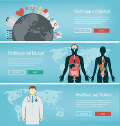 medical banners set healthcare and medical vector image