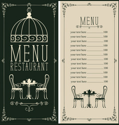 Menu with price list image served table and vector