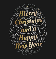 merry christmas and a happy new year hand drawn vector image