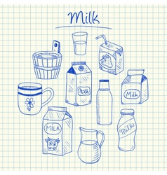 milk doodles squared paper vector image