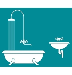 old bathroom with shower and sink vector image