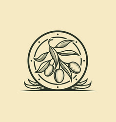 olive branch icon in stylized frame with leaves vector image