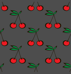 Pair of cherries seamless pattern gray background vector