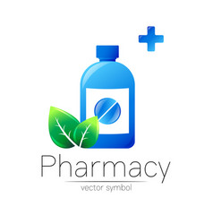 pharmacy symbol with blue bottle and pill vector image