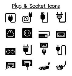 Plug socket icon set graphic design vector