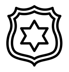 Police badge icon outline style vector