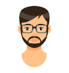 Portrait young bearded man in eyeglasses vector