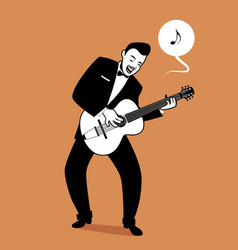 retro cartoon music guitar player playing a song vector image