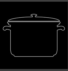 Saucepan white color path icon vector
