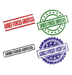 Scratched textured armed forces americas stamp vector