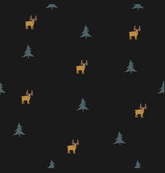 seamless pattern with brown mooses and spruce vector image