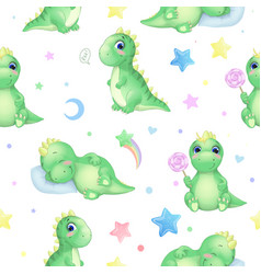 seamless pattern with funny dinosaurs vector image