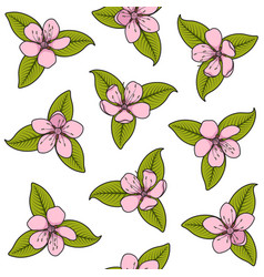seamless pattern with pink spring flowers vector image