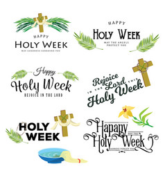 set for christianity holy week before easter lent vector image