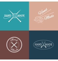 set hand made labels badges and logos vector image