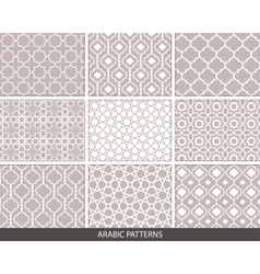 set nine arabic patterns vector image