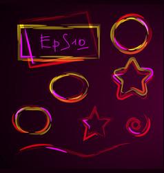 Set of geometric shapes neon design element vector