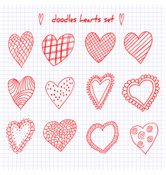 set of hand drawn sketch doodle hearts on the vector image