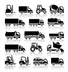 Set of truck black icons vector