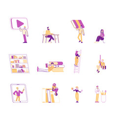 set people reading books male and female vector image