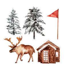 Set winter sport design element watercolor vector