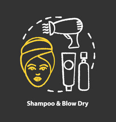 Shampoo and blow dry chalk concept icon hair care vector