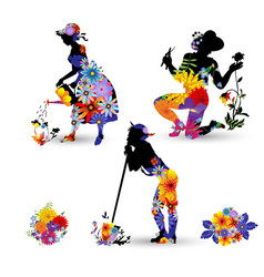 Silhouettes gardeners decorated vector