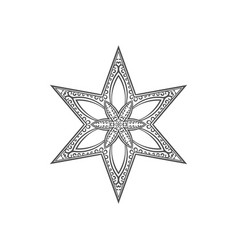 Six pointed star zentangle mandala for coloring vector