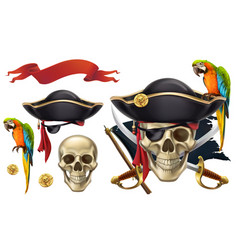 Skull and parrot pirate emblem 3d icon set vector