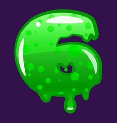 slime font type number 6 latin alphabet green vector image