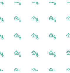 Smart home icon pattern seamless white background vector