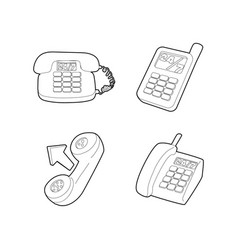 telephone icon set outline style vector image