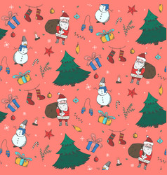 tender red christmas pattern with doodle elements vector image