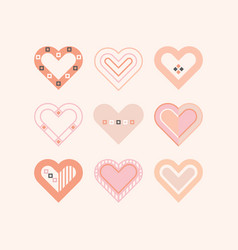 Trendy pink color cute assorted hearts icons set vector