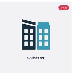 two color skyscraper icon from real estate vector image