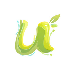 U letter eco logo formed watercolor splashes vector