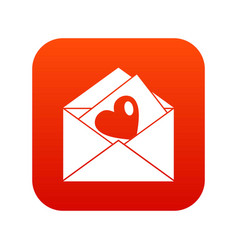 vintage envelopes and heart icon digital red vector image