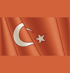 vintage flag turkey close-up background vector image