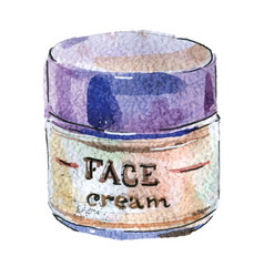 Watercolor face cream in white packaging with vector