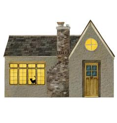 watercolor portrait a cozy house or cottage vector image