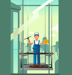 Windows cleaner of high rise buildings vector