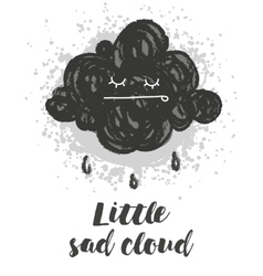 With cartoon handdrawn cloud vector