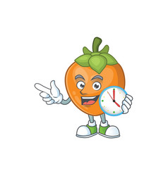 With clock persimmon cartoon character isolated vector