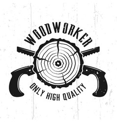 woodworks emblem with crossed hand saws vector image