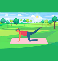 working out woman on mat plank donkey kicks vector image